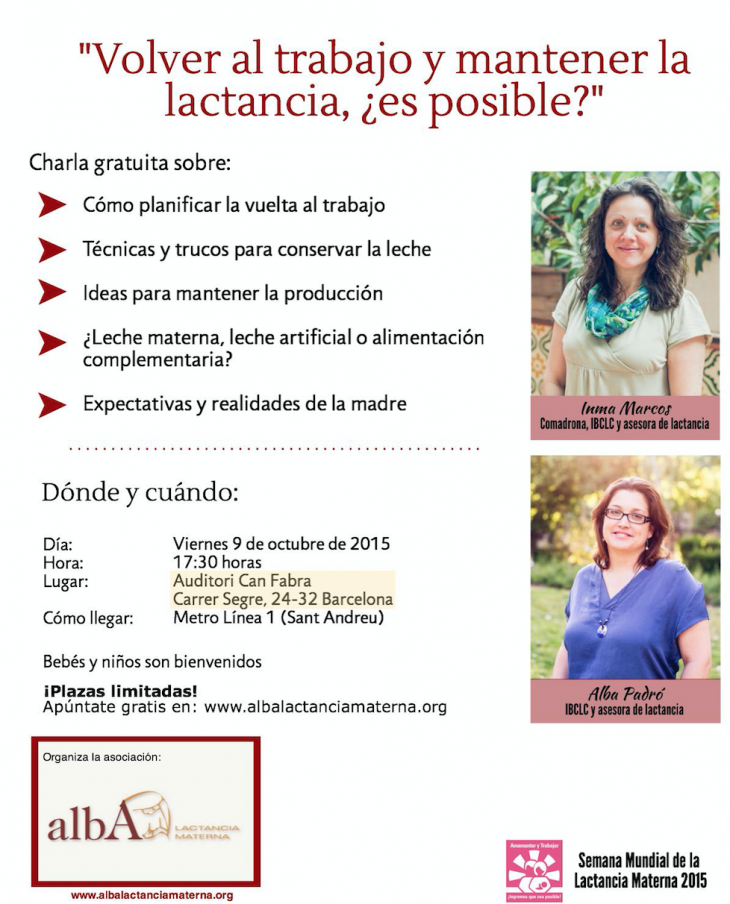 """SMLM 2015: ALBA organiza la charla """"Volver al trabajo y mantener la lactancia ¿es posible?"""""""